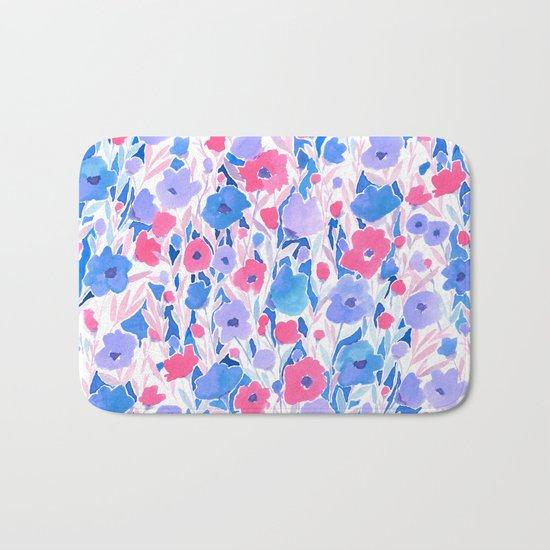Flower Field Lilac Blue Bath Mat