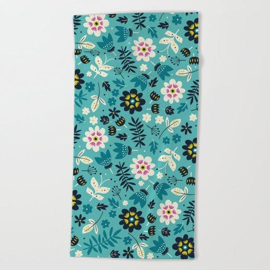 Fresh Blossoms (Greens) Beach Towel