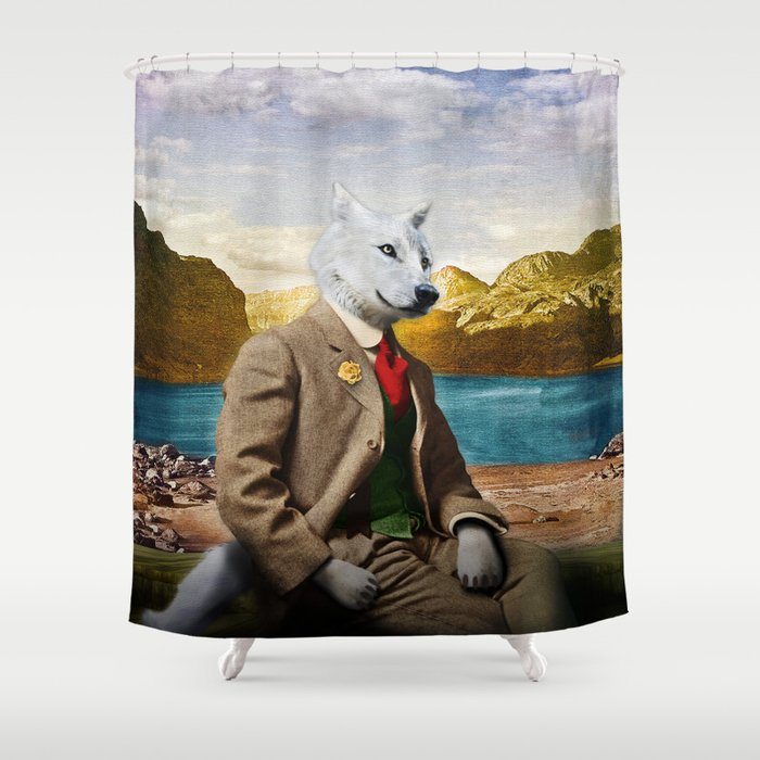 Mr. Wolf Relaxing at the Lake Shower Curtain