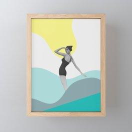 Swimmer Collage Framed Mini Art Print