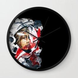 cosmonaut portrait by carographic Wall Clock