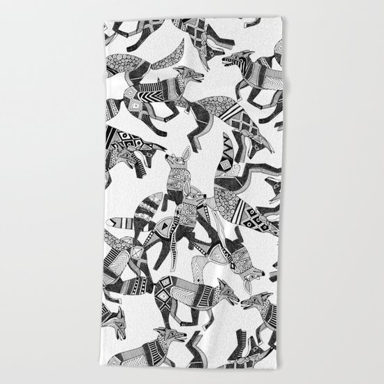 woodland fox party black white Beach Towel