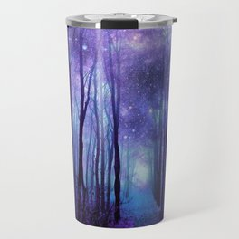Fantasy Forest Path Icy Violet Blue Travel Mug