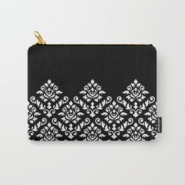 Damask Baroque Part Pattern White on Black Carry-All Pouch