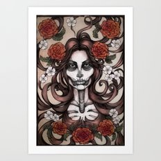 Blossoming Day of the Dead Art Print