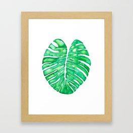 Monstera Leaf in Watercolor Framed Art Print