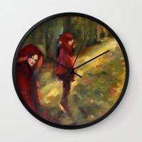 agnes Wall Clocks featuring Agnes - Autumn by Dawn Dudek