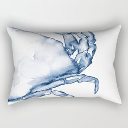 Coastal Crab in Watercolor, Navy Blue (Right Half in Set) Rectangular Pillow