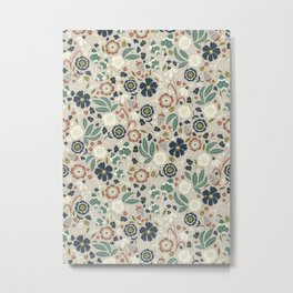Flourishing Florals (Light-Green) Metal Print