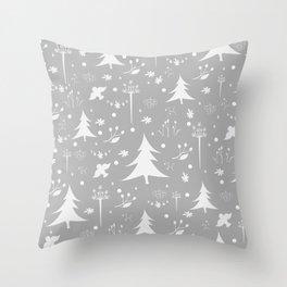 Seamless Winter/Merry Christmas Pattern with spruce trees, fir, berries, birds, rowan Throw Pillow