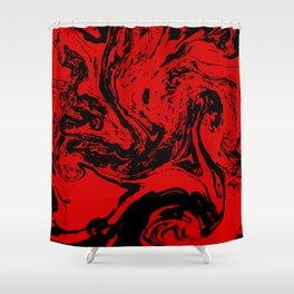 Red & Black liquid ink Shower Curtain