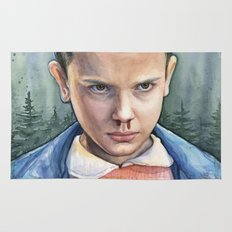 Stranger Things Eleven Art Watercolor Portrait Rug