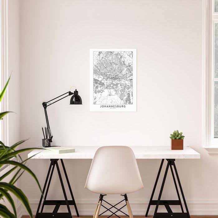Johannesburg White Map Poster