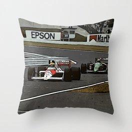 Ayrton Senna Formula 1 Battle Throw Pillow