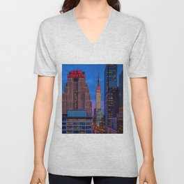 The New Yorker, 481 8th Ave, New York, NY, A Portrait by Jeanpaul Ferro Unisex V-Neck