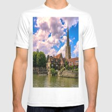 Along the Thames. White Mens Fitted Tee MEDIUM