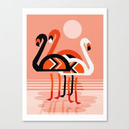 Posse - flamingo throwback nostalgia retro neon art print hipster trendy style minimal abstract geo Canvas Print