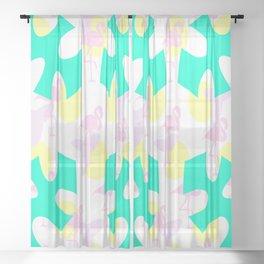 Flamingo vibrant motif Sheer Curtain