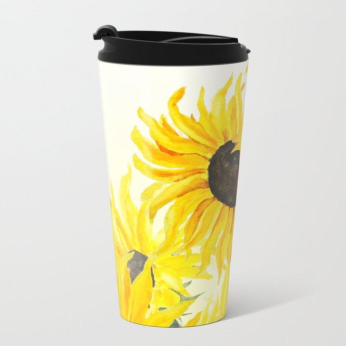sunflower watercolor 2017 Metal Travel Mug