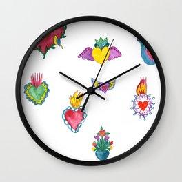 Sacred Hearts Milagros Watercolor Wall Clock