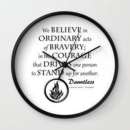 Dauntless Black Lettering Wall Clock