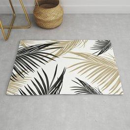 Gold Black Palm Leaves Dream #1 #tropical #decor #art #society6 Rug