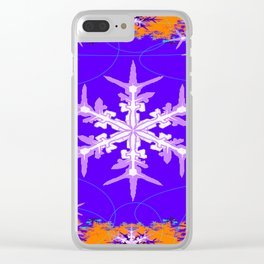 Purple Snowflake Modern Art Abstract Clear iPhone Case