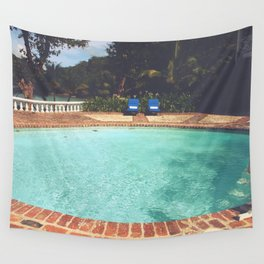 Two Chairs at the Pool Wall Tapestry
