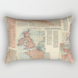 Vintage Map Print - 1915 German First World War Map of the Theaters of War Rectangular Pillow