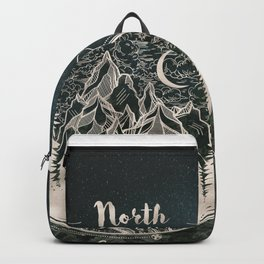 Mountains Compass Milky Way Woods Gold Backpack