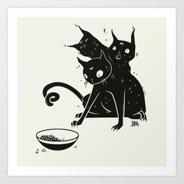 Creepy Cute Three Headed Black Cat Artwork Art Print