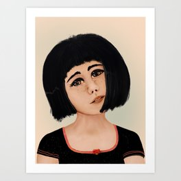 Sad Asian Lady Art Print
