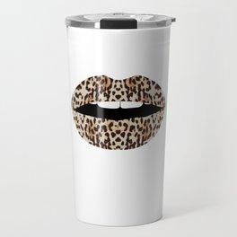 Cheetah Pattern Lips Leopards Fur Kiss Mouth Animal Print Travel Mug