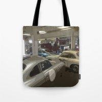 porsche Tote Bags featuring Porsche Garage by Premium