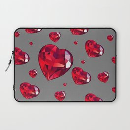 GREY ART RAINING RUBY RED VALENTINES HEARTS Laptop Sleeve