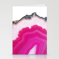 agate Stationery Cards featuring Pink Agate Slice by cafelab
