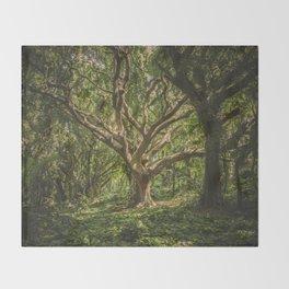 Old Green Tree Throw Blanket