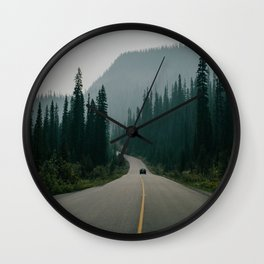 road marking fog mountains movement Wall Clock