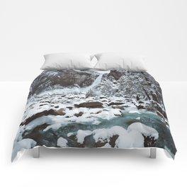 Snow at Yosemite Falls Comforters