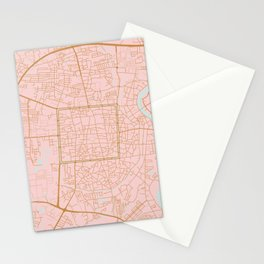 Pink and gold Chiang Mai map, Thailand Stationery Cards