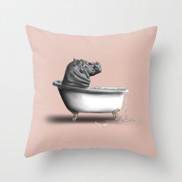 Hippo in Bath Throw Pillow