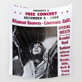 Vintage Rolling Stones free concert at Altamont Raceway, Livermore, California, December 6, 1969 Wall Tapestry
