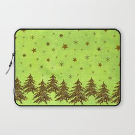 Sparkly Christmas tree, stars, moon on abstract green paper Laptop Sleeve