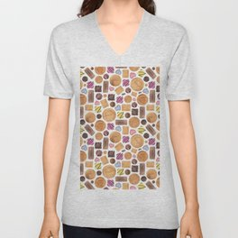 Selection of Sweets, Candy, Cakes and Biscuits Unisex V-Neck