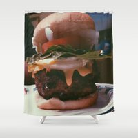 burger Shower Curtains featuring Burger  by Sam Chapman