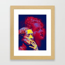 Bette Davis 1980 Neon art by Ahmet Asar Framed Art Print