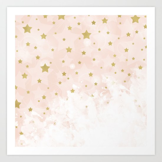 Gold stars on blush pink Art Print