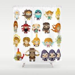 chibi kawaii gods of the greek mythology Shower Curtain