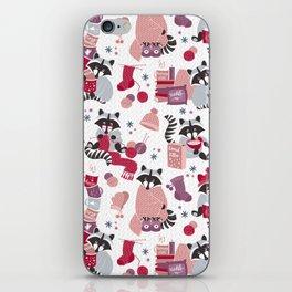 Hygge raccoon // white background iPhone Skin