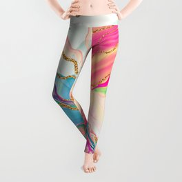 Alcohol ink abstract contemporary art- Pink  Leggings
